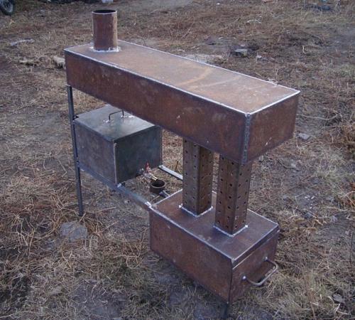 Печка на отработке с водяным контуТарабайк своими